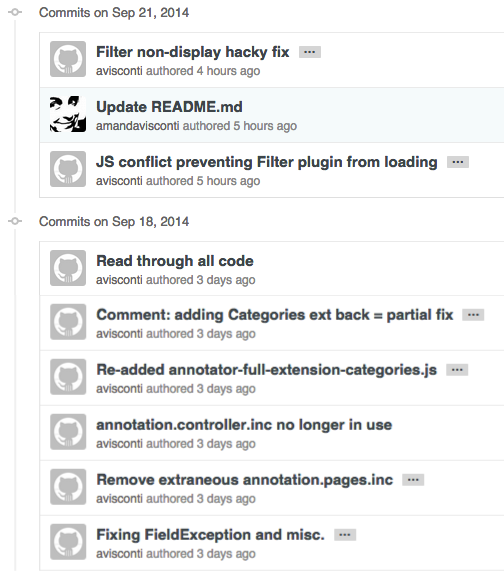 List of commit messages for GitHub code