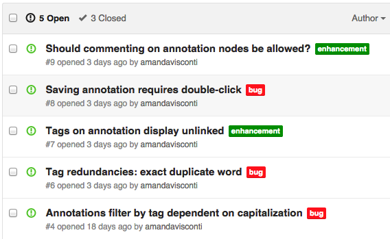 Screenshot of issues in my GitHub repository