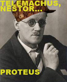 Photo of author James Joyce in the style of the Scumbag Steve meme