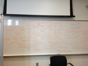 Photo of whiteboard during One Week One Tool planning and dev work.